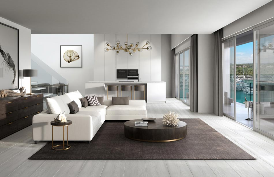A living room concept for One Marina, the newest high-end real estate offering at Palm Cay.